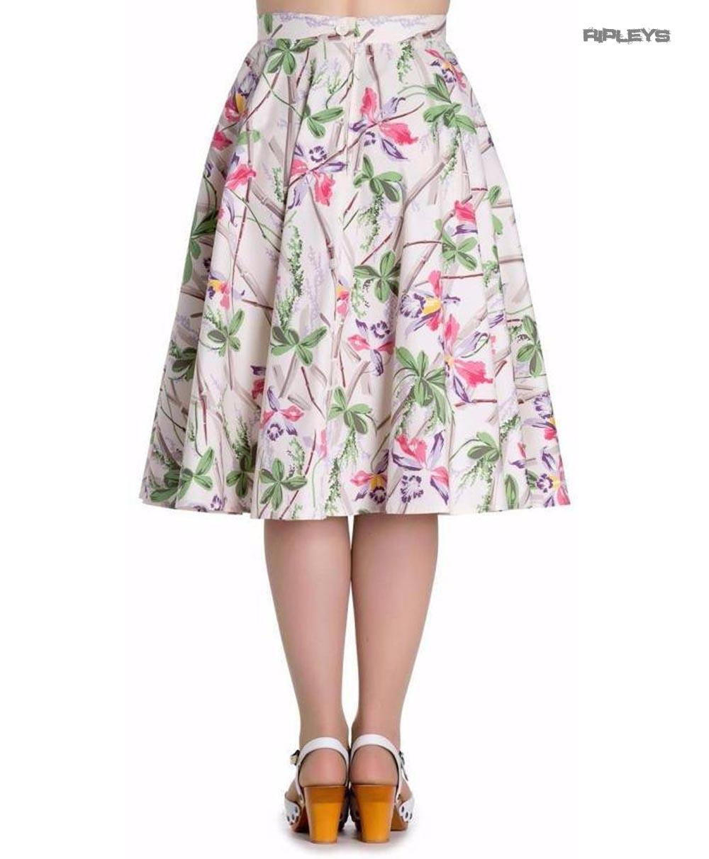 9a24953c7 Hell Bunny Pin Up Rockabilly 50s White Skirt BAMBOO Vintage Floral All Sizes
