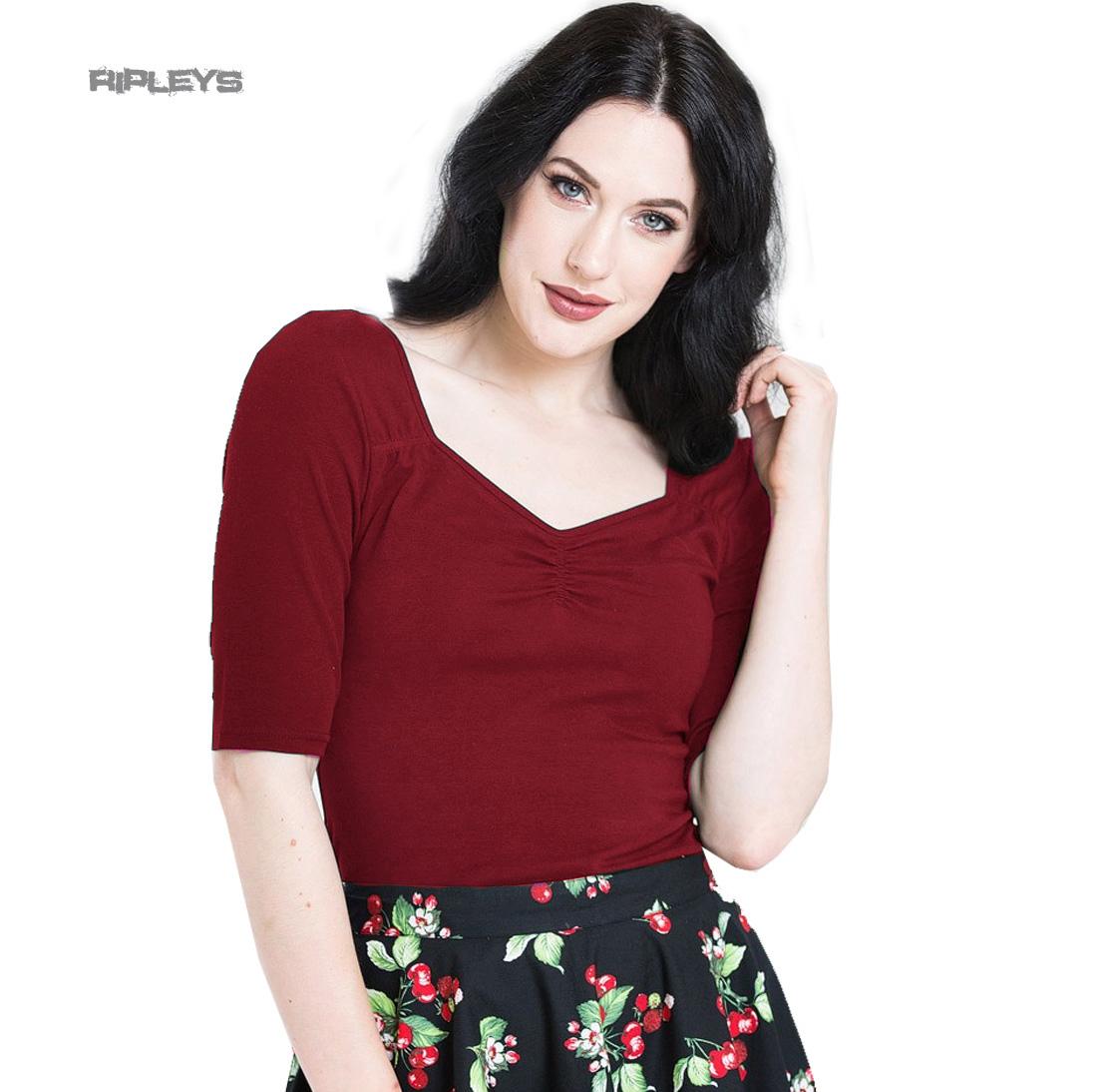 Hell Bunny Shirt 50s Rockabilly Top MIA Plain Black Short Sleeves All Sizes