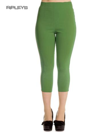 Hell Bunny 50s Pedal Pushers TINA Capris Capri Trousers Khaki Green All Sizes