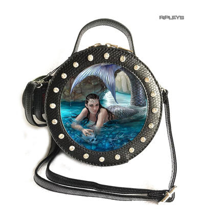ANNE STOKES 3D Round Circular Hand Bag Black PVC Goth Mermaid 'Hidden Depths'
