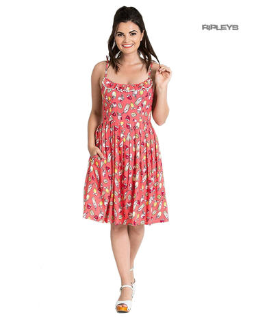 Hell Bunny Summer Pin Up 50 Dress GIN FIZZ Cocktail Lemonade Coral Pink All Size