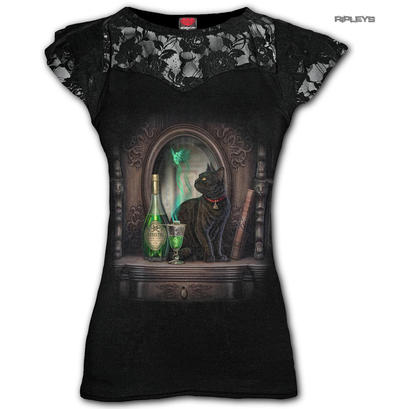 Spiral Direct Ladies Black Goth Witch ABSINTHE Black Cat Top Lace All Sizes