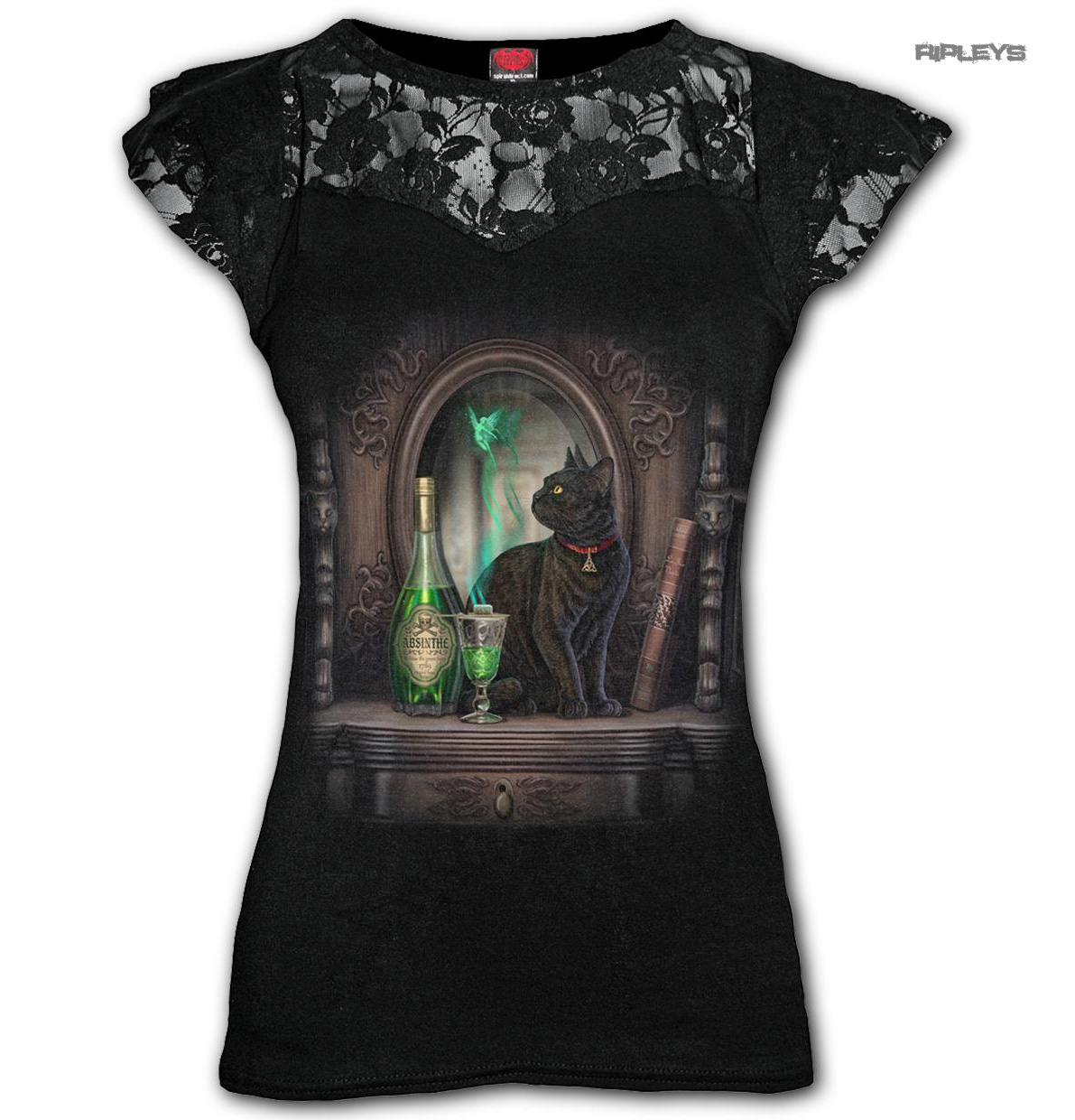 Spiral-Direct-Ladies-Black-Goth-Witch-ABSINTHE-Black-Cat-Top-Lace-All-Sizes thumbnail 8