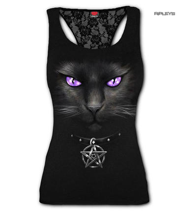 Spiral Direct Ladies Black Goth BLACK CAT Mesmerise Lace Vest Top All Sizes