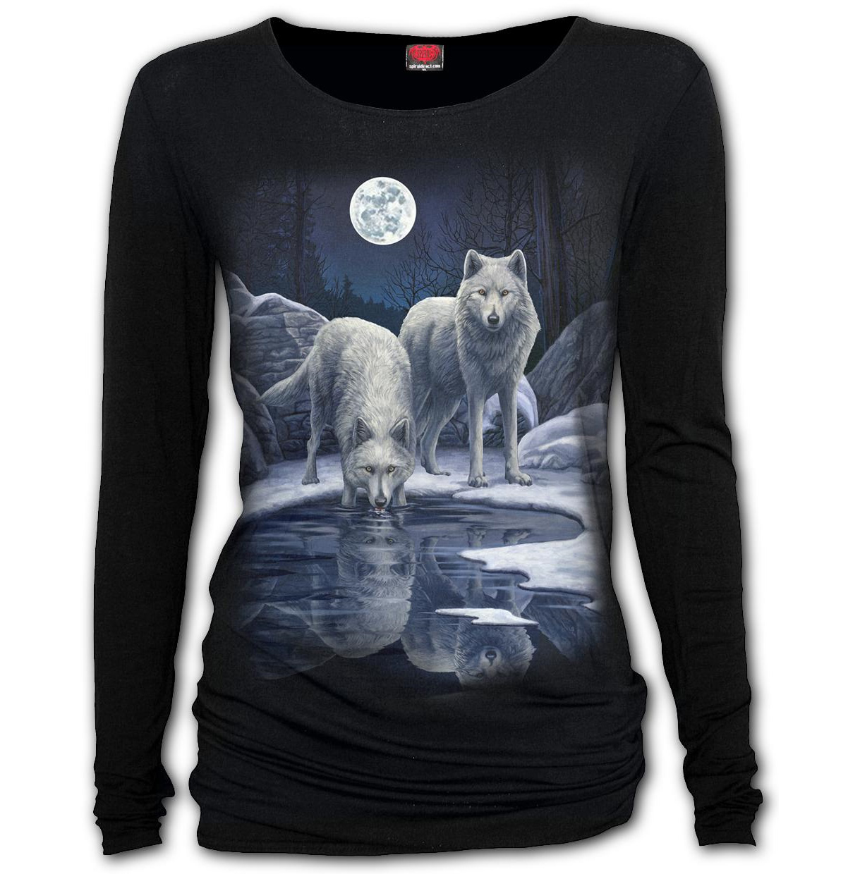 Spiral-Direct-Ladies-Black-Goth-WARRIORS-OF-WINTER-Wolf-L-Sleeve-Top-All-Sizes thumbnail 3