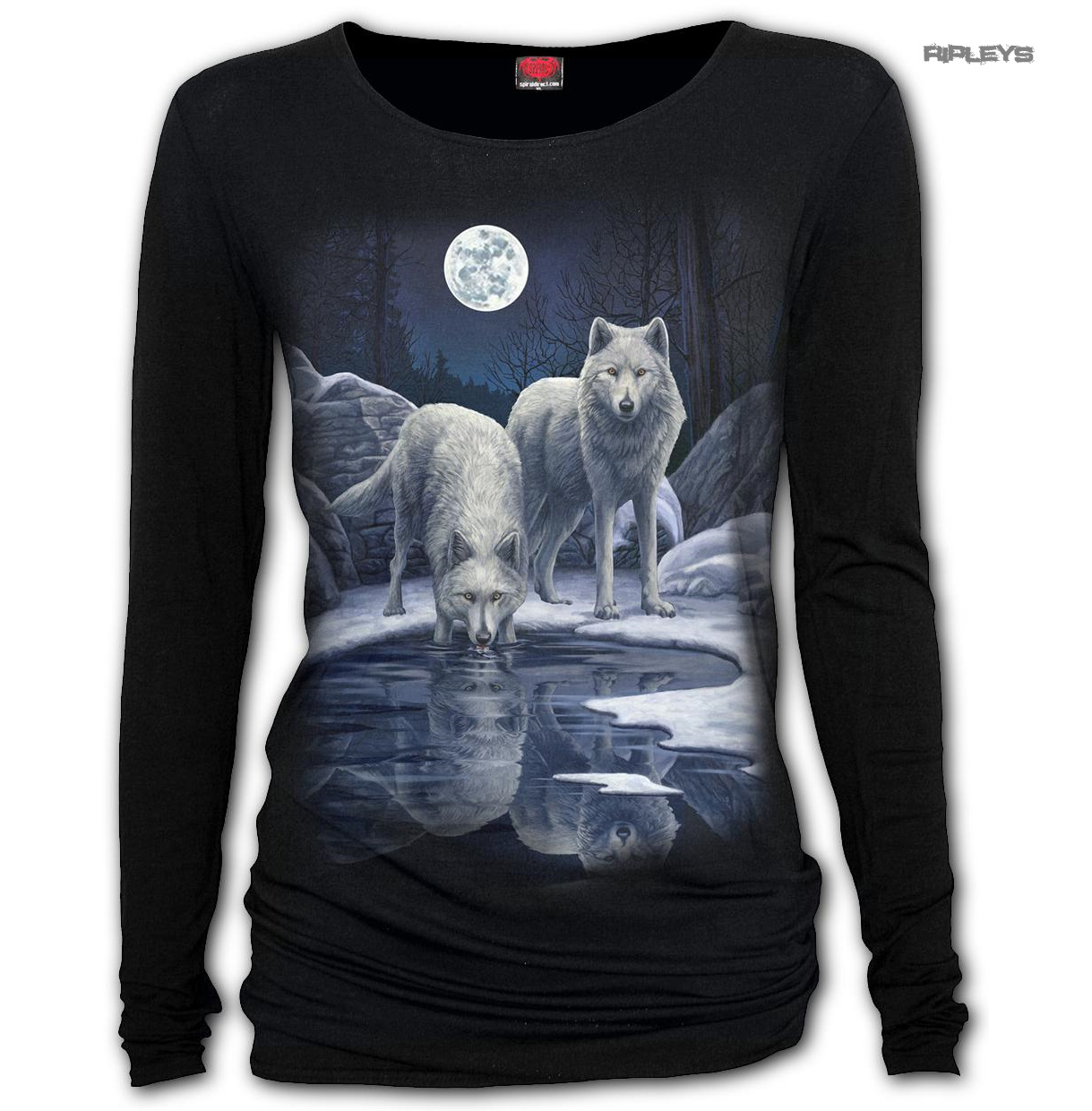 Spiral-Direct-Ladies-Black-Goth-WARRIORS-OF-WINTER-Wolf-L-Sleeve-Top-All-Sizes thumbnail 4