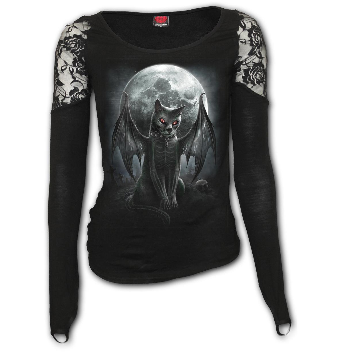 Spiral-Direct-Ladies-Gothic-Black-Top-Vampire-VAMP-CAT-L-Sleeve-Lace-All-Sizes thumbnail 7