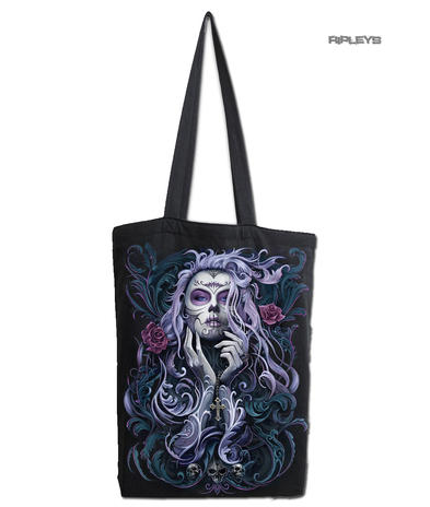 Spiral Ladies Gothic Vampire ROCOCO SKULL Canvas Tote Bag 4 Life