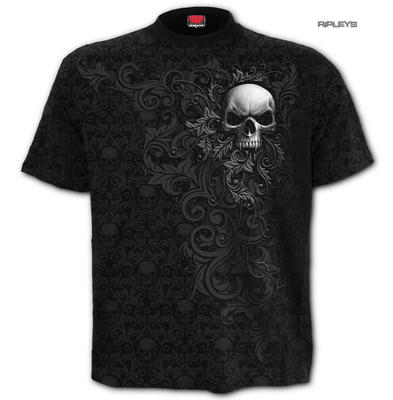 Spiral Direct Unisex T Shirt Vampire Gothic SKULL SCROLL All Over All Sizes