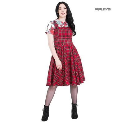 Hell Bunny 50s Rockabilly  Retro Dress IRVINE Pinafore Red Tartan All Sizes