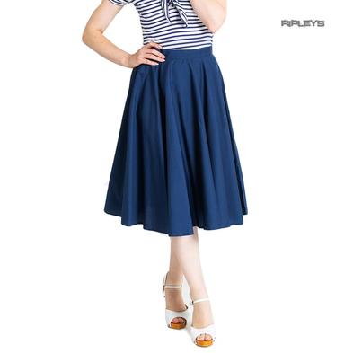 Hell Bunny 50s Skirt Vintage Pin Up Rockabilly PAULA Plain Navy Blue All Sizes