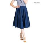 Hell Bunny 50s Skirt Vintage Pin Up Rockabilly PAULA Plain Navy Blue All Sizes Thumbnail 1