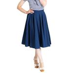 Hell Bunny 50s Skirt Vintage Pin Up Rockabilly PAULA Plain Navy Blue All Sizes Thumbnail 2