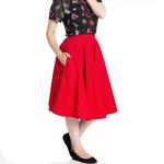 Hell Bunny 50s Skirt Vintage Pin Up Rockabilly PAULA Plain Red All Sizes Thumbnail 2