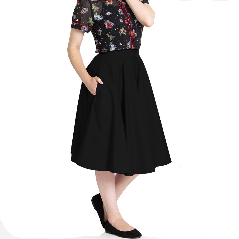 Hell-Bunny-50s-Skirt-Vintage-Pin-Up-Rockabilly-PAULA-Plain-Black-All-Sizes thumbnail 9