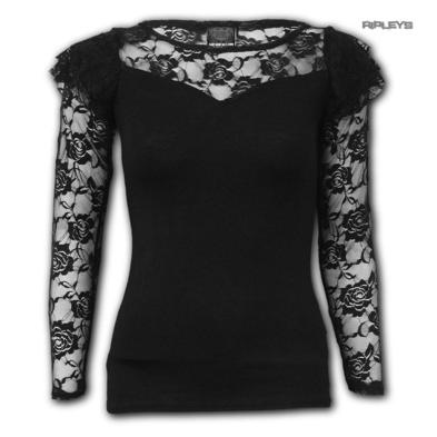 Spiral Direct  Gothic Elegance  Ladies Plain Black L/SLEEVE LACE #2 All Sizes