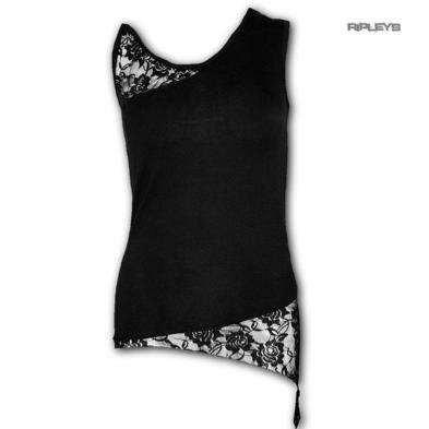Spiral Direct Gothic Elegance  Ladies Black VEST LACE Top All Sizes