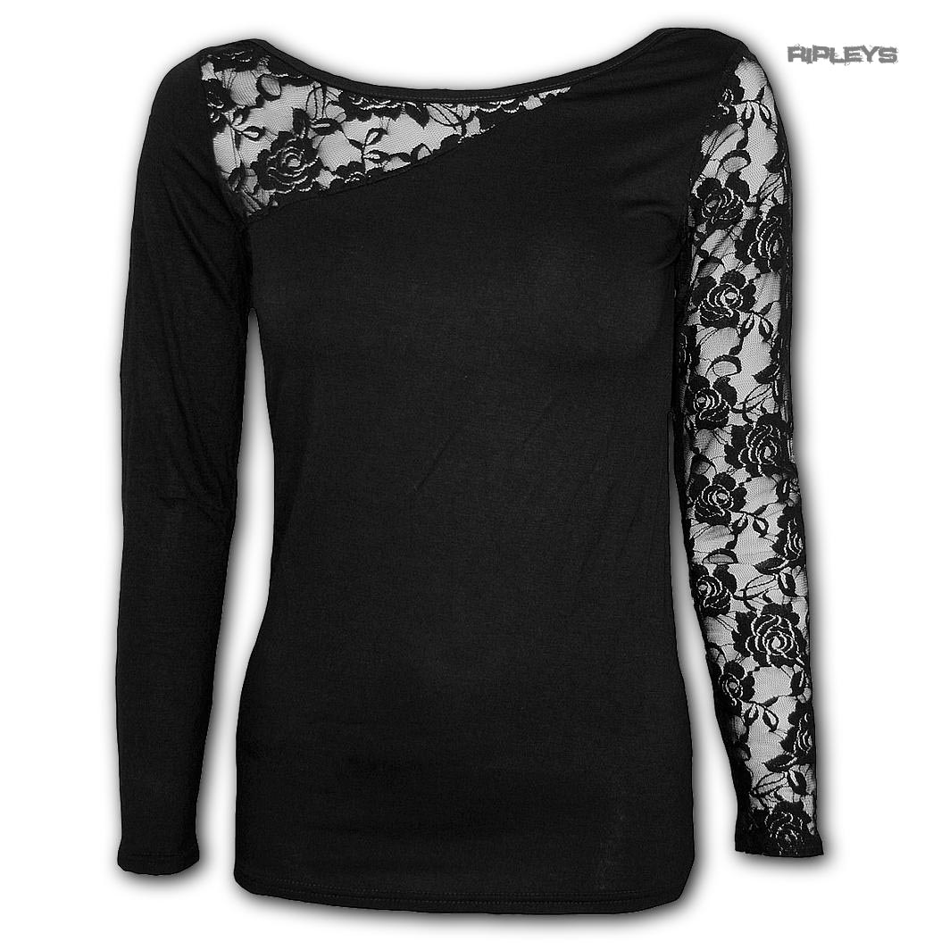 Spiral-Direct-Gothic-Elegance-Ladies-Plain-Black-L-SLEEVE-LACE-1-All-Sizes thumbnail 2