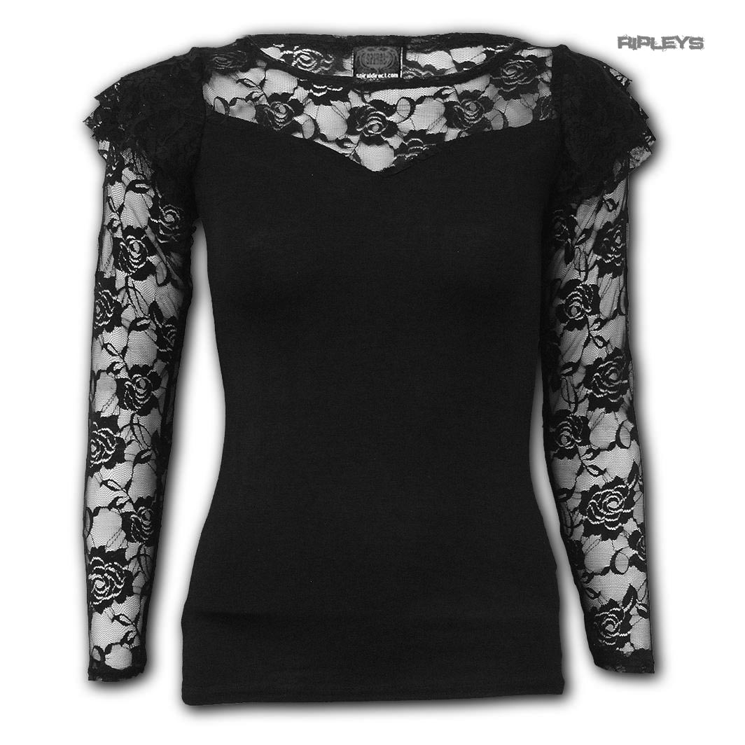 Spiral-Direct-Gothic-Elegance-Ladies-Plain-Black-L-SLEEVE-LACE-2-All-Sizes thumbnail 6