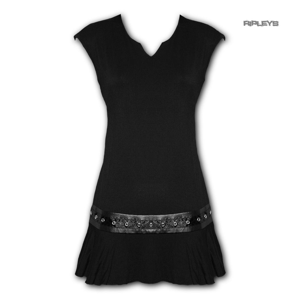 Spiral-Direct-Gothic-Elegance-Ladies-Black-Mini-STUD-DRESS-Top-All-Sizes thumbnail 2