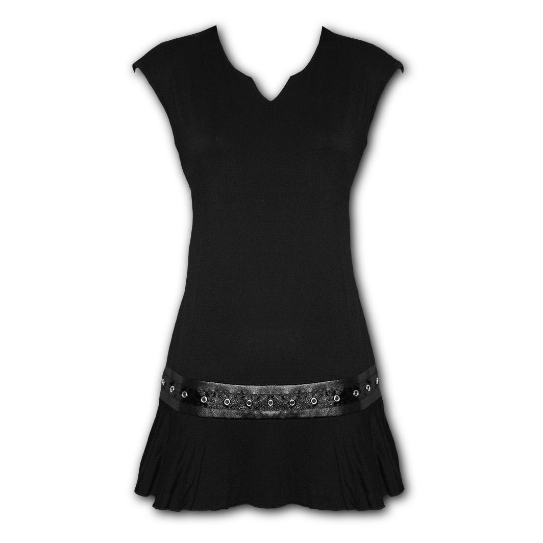Spiral-Direct-Gothic-Elegance-Ladies-Black-Mini-STUD-DRESS-Top-All-Sizes thumbnail 5