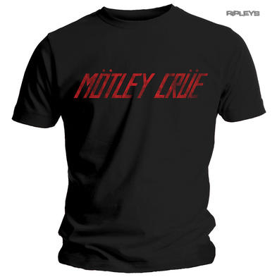 Official T Shirt MOTLEY CRUE Black 'Distressed Red Logo' Vintage All Sizes