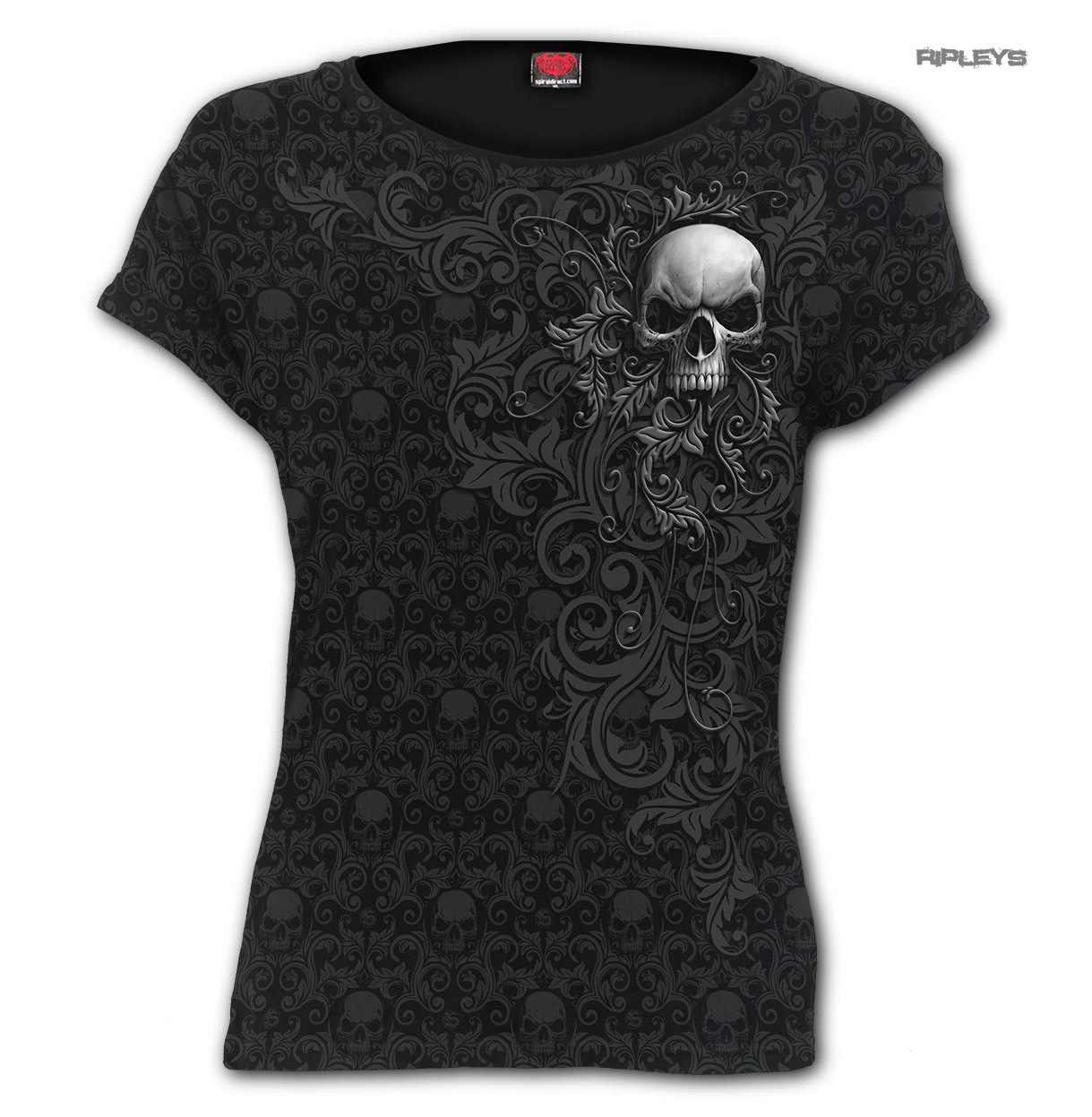 Spiral-Direct-Ladies-Black-Gothic-SKULL-SCROLL-Impression-T-Shirt-Top-All-Sizes thumbnail 2