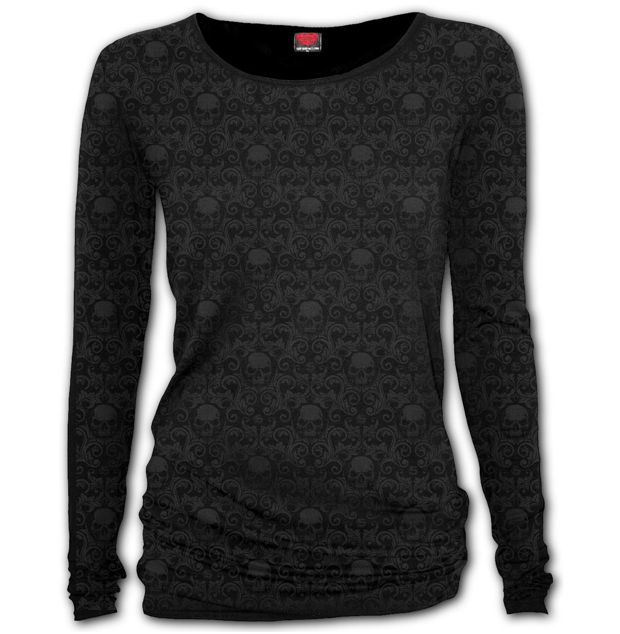 Spiral-Gothic-Elegance-Ladies-Blk-Goth-Scroll-IMPRESSION-L-Sleeve-Top-All-Sizes thumbnail 3