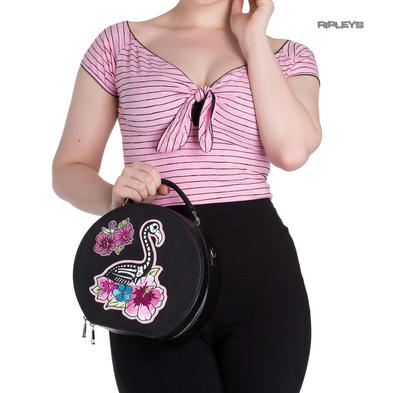 HELL BUNNY 50s Rockabilly Vanity Bag Purse Pink SKELEMINGO Flamingo Handbag