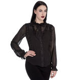 Hell Bunny Elegant Goth Shirt Ruffle Top DEMETRIA Blouse Black Chiffon All Sizes Thumbnail 2