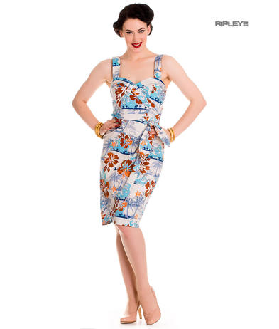 Hell Bunny Pinup Party Cocktail Holiday Wiggle Dress TIKI Sarong Blue All Sizes Preview