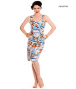 Hell Bunny Pinup Party Cocktail Holiday Wiggle Dress TIKI Sarong Blue All Sizes Thumbnail 1