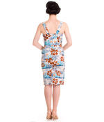 Hell Bunny Pinup Party Cocktail Holiday Wiggle Dress TIKI Sarong Blue All Sizes Thumbnail 4