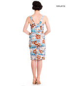 Hell Bunny Pinup Party Cocktail Holiday Wiggle Dress TIKI Sarong Blue All Sizes Thumbnail 3