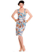 Hell Bunny Pinup Party Cocktail Holiday Wiggle Dress TIKI Sarong Blue All Sizes Thumbnail 2