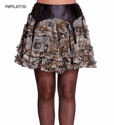 Hell Bunny Spin Doctor Grunge Gothic Brown LUNA Lolita Mini Skirt All Sizes