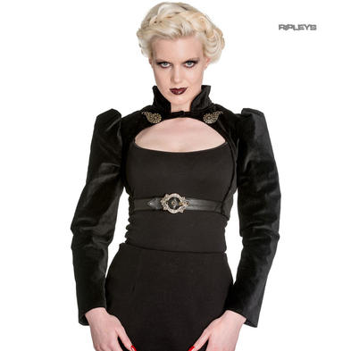 Hell Bunny Spin Doctor Goth Steampunk Top LORENA Velvet Bolero All Sizes