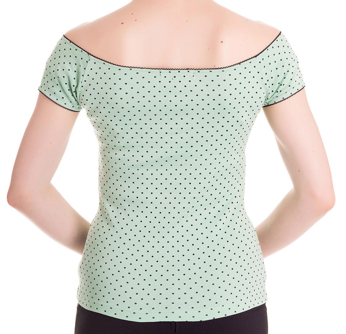 miniatura 28 - HELL BUNNY Shirt Rockabilly Top CILLA Polka Dot MINT Green 50s All Sizes