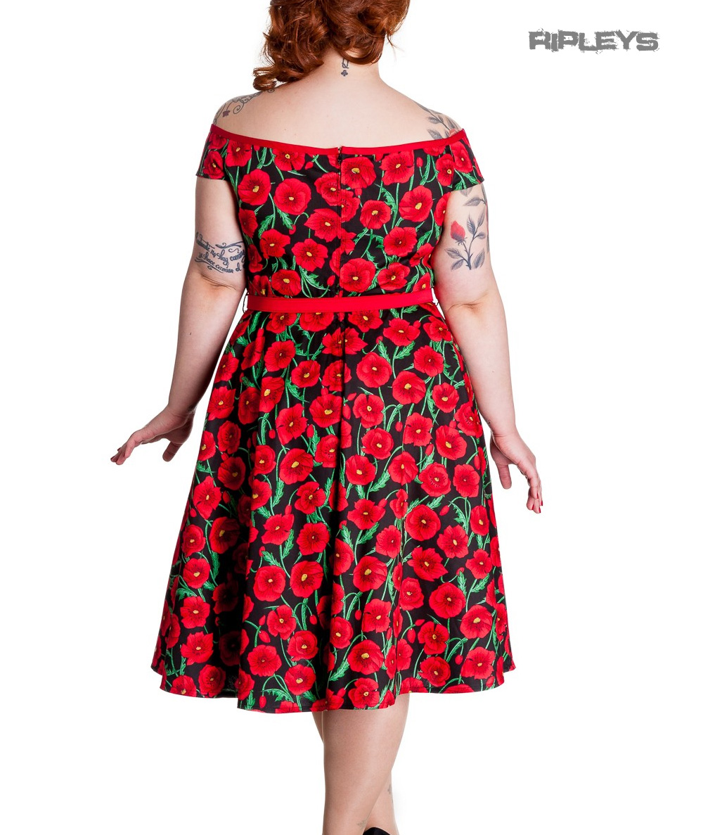 Hell-Bunny-50s-Dress-Pin-Up-CORDELIA-Red-Black-Poppy-Flowers-XXS-Size-6 thumbnail 4