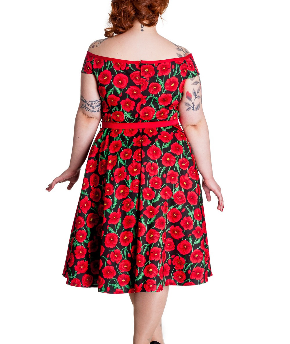 Hell-Bunny-50s-Dress-Pin-Up-CORDELIA-Red-Black-Poppy-Flowers-All-Sizes thumbnail 5