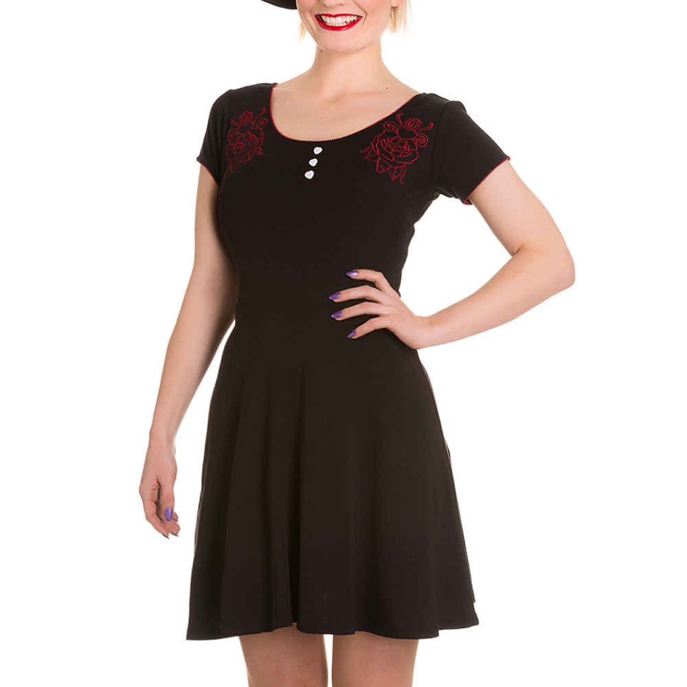 HELL-BUNNY-Jersey-Mini-Dress-DAGGER-of-Hearts-Skater-Red-Rose-All-Sizes thumbnail 3