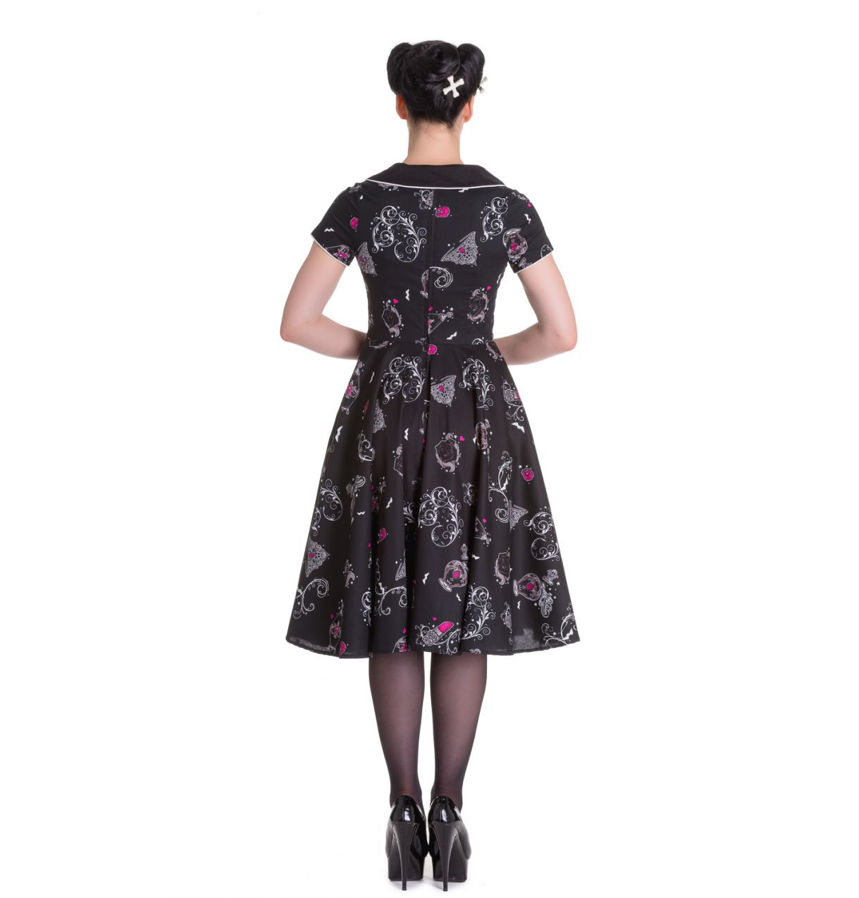 Hell-Bunny-50s-Dress-Pin-Up-Rockabilly-Black-Pink-KALONICE-Gothic-Bats-All-Sizes thumbnail 5