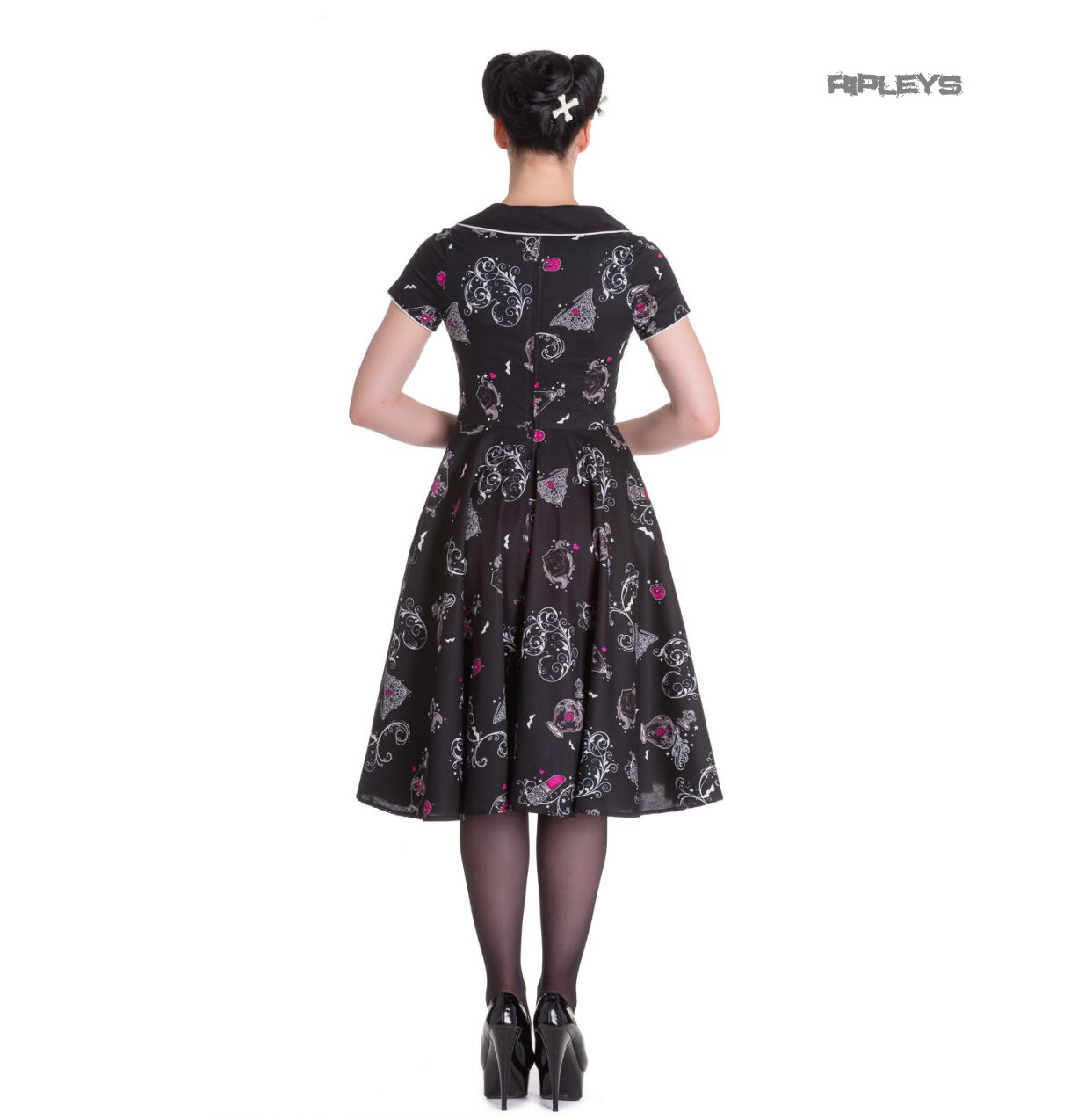 Hell-Bunny-50s-Dress-Pin-Up-Rockabilly-Black-Pink-KALONICE-Gothic-Bats-All-Sizes thumbnail 4