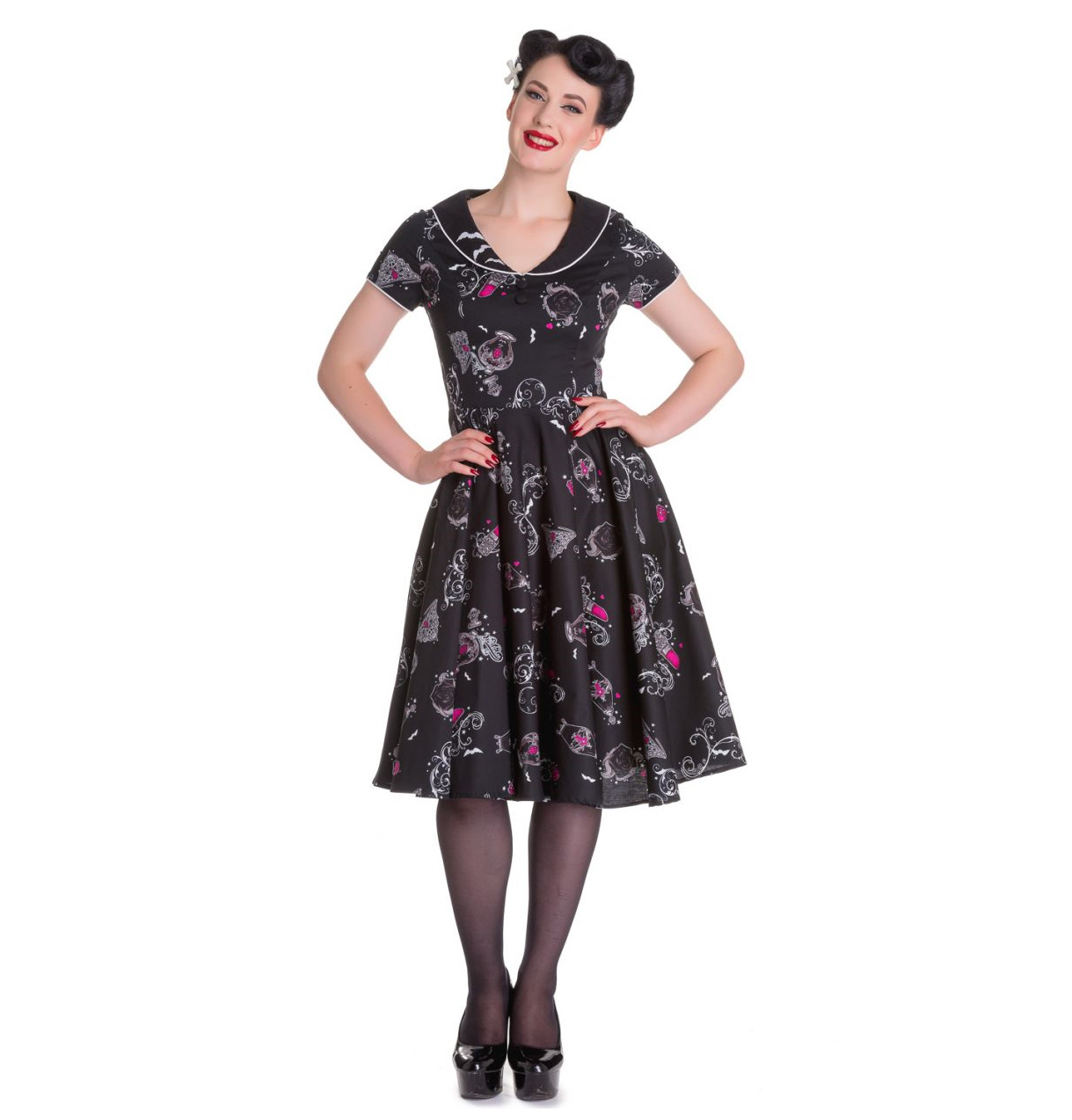 Hell-Bunny-50s-Dress-Pin-Up-Rockabilly-Black-Pink-KALONICE-Gothic-Bats-All-Sizes thumbnail 3