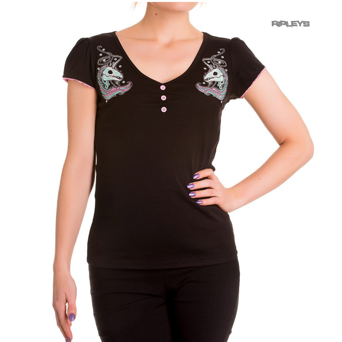 Hell-Bunny-Top-Shirt-Black-Baby-Pink-RARITY-Unicorn-Skull-All-Sizes thumbnail 2