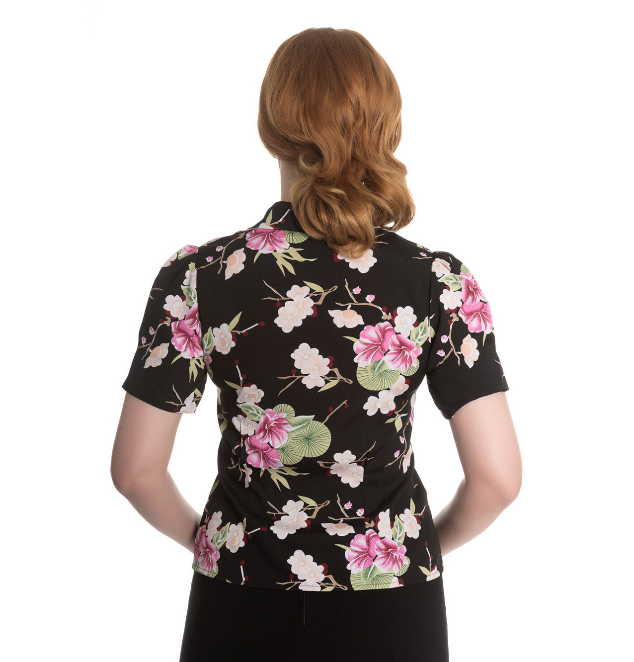 Hell-Bunny-Shirt-Top-40s-50s-Black-FREYA-Pink-Flowers-Floral-Blouse-All-Sizes thumbnail 5