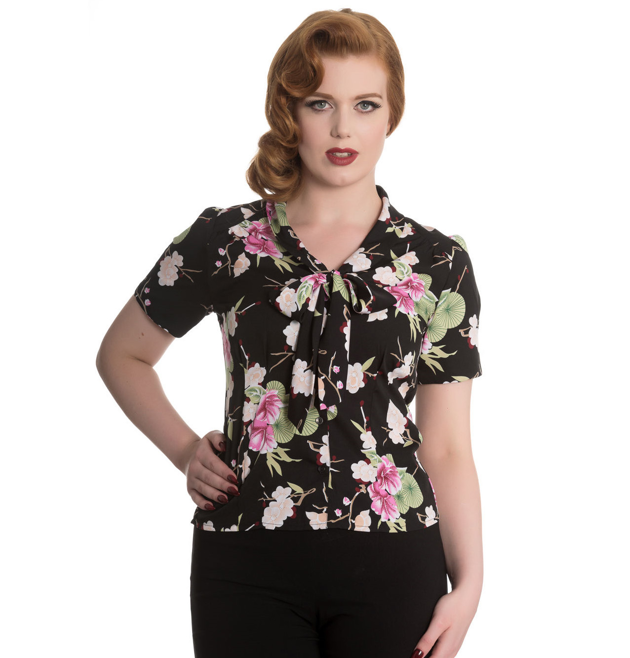Hell-Bunny-Shirt-Top-40s-50s-Black-FREYA-Pink-Flowers-Floral-Blouse-All-Sizes thumbnail 3