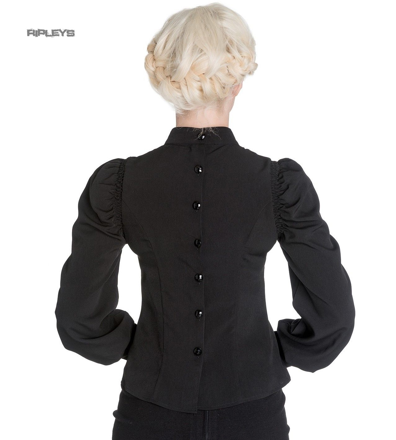 Hell-Bunny-Spin-Doctor-Vampire-Gothic-Shirt-Top-MELROSE-Blouse-All-Sizes thumbnail 4