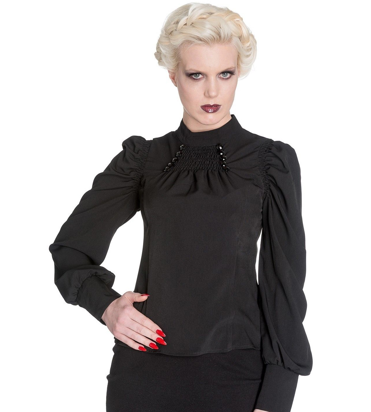 Hell-Bunny-Spin-Doctor-Vampire-Gothic-Shirt-Top-MELROSE-Blouse-All-Sizes thumbnail 3