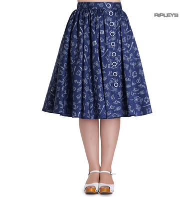 Hell Bunny 50 Skirt Vintage Pin Up Rockabilly MARIN Nautical Navy Blue All Sizes